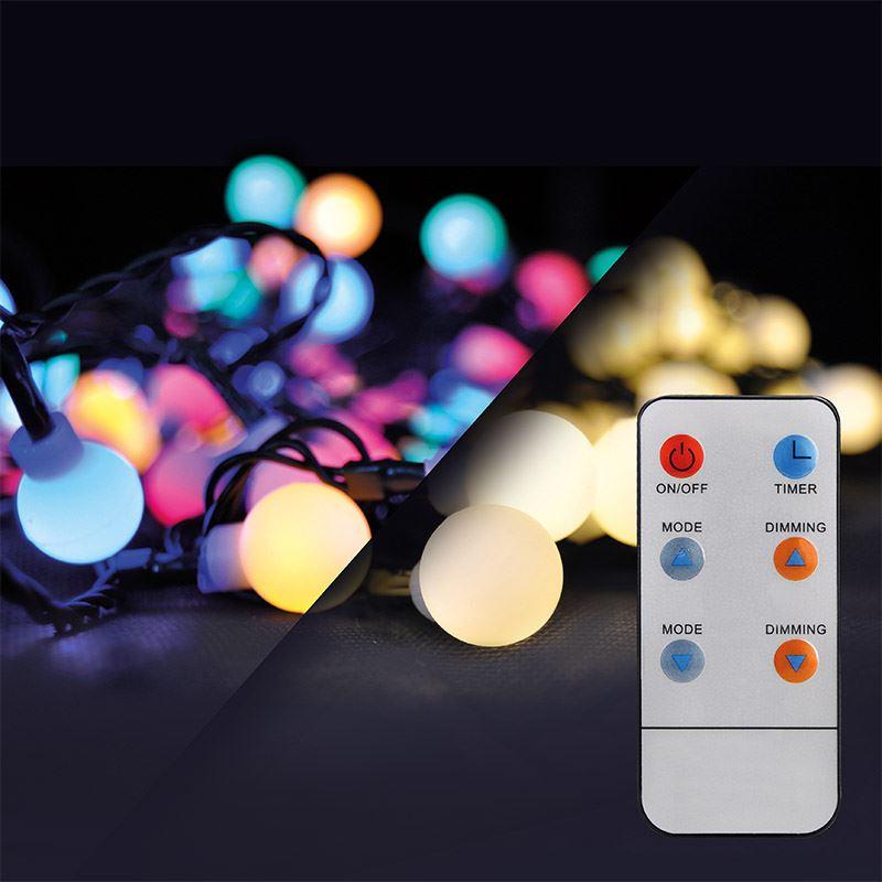 Solight LED 2v1 vonkajšia vianočná reťaz, gule, diaľkový ovládač, 100LED, RGB + biela, 10m+ 5m, 8 funkcií, IP44