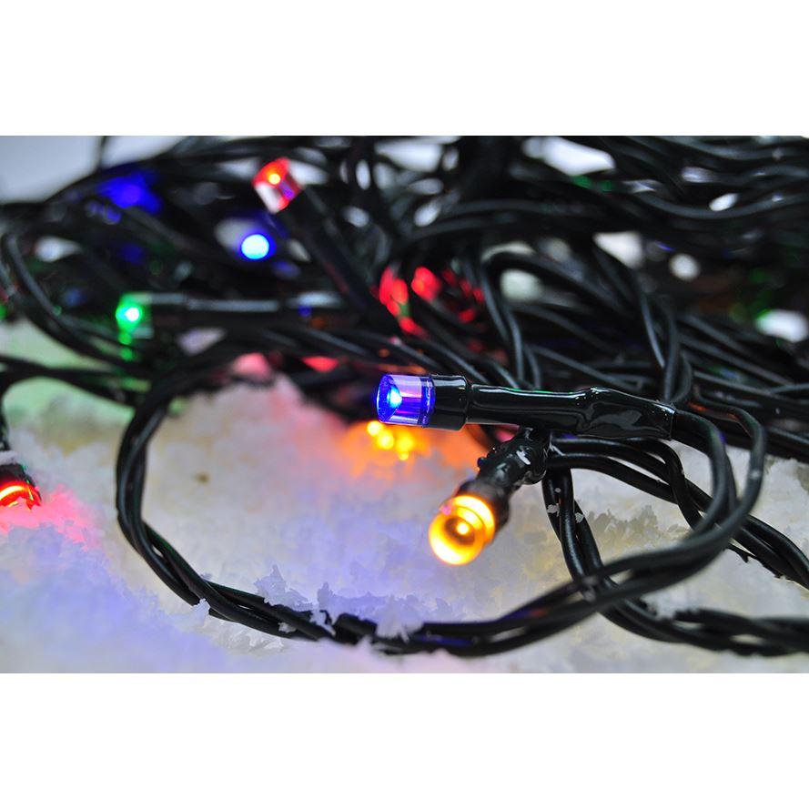 Solight LED vonkajšia vánočná reťaz, 100 LED, 10m, prívod 3m, 8 funkcií, časovač, IP44, viacfarebný