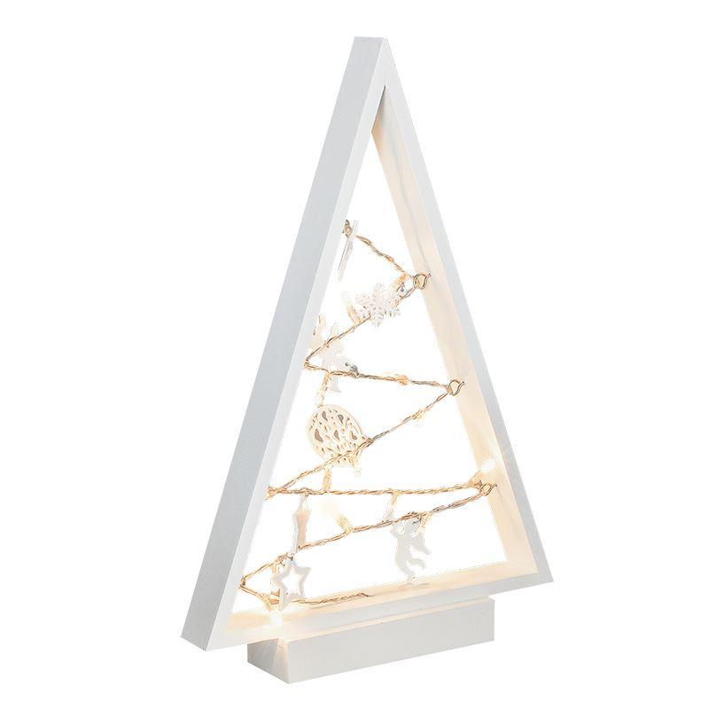 Solight LED drevený vianočný stromček s ozdobami, 15LED, prírodné drevo, 37cm, 2x AA