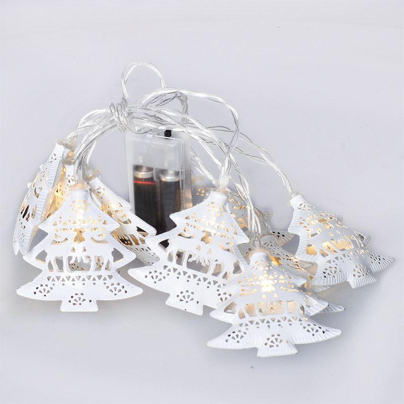 Solight LED reťaz vianočné stromčeky, kovové, biele, 10LED, 1m, 2x AA, IP20