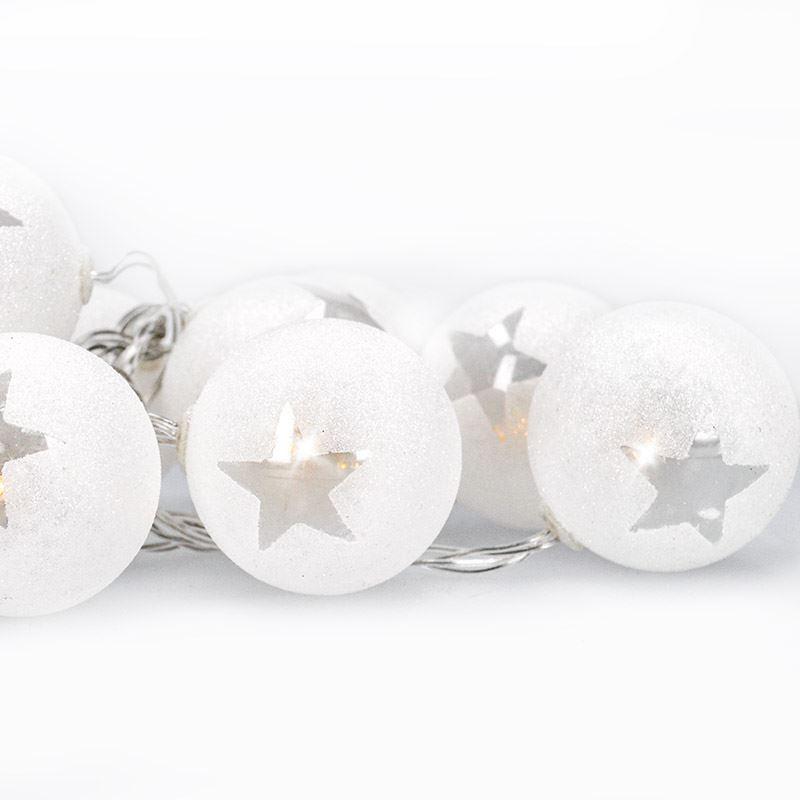 Solight LED reťaz vianočné guľe, 10LED, 1m, 2x AA, časovač, IP20