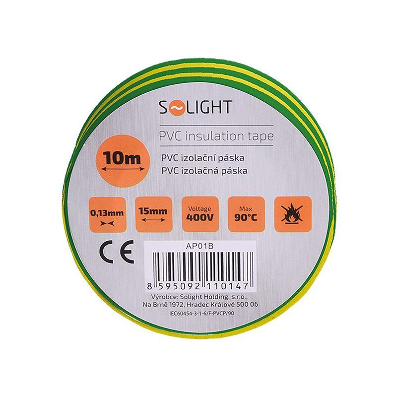 Solight izolačná páska, 15mm x 0,13mm x 10m, žltozelená