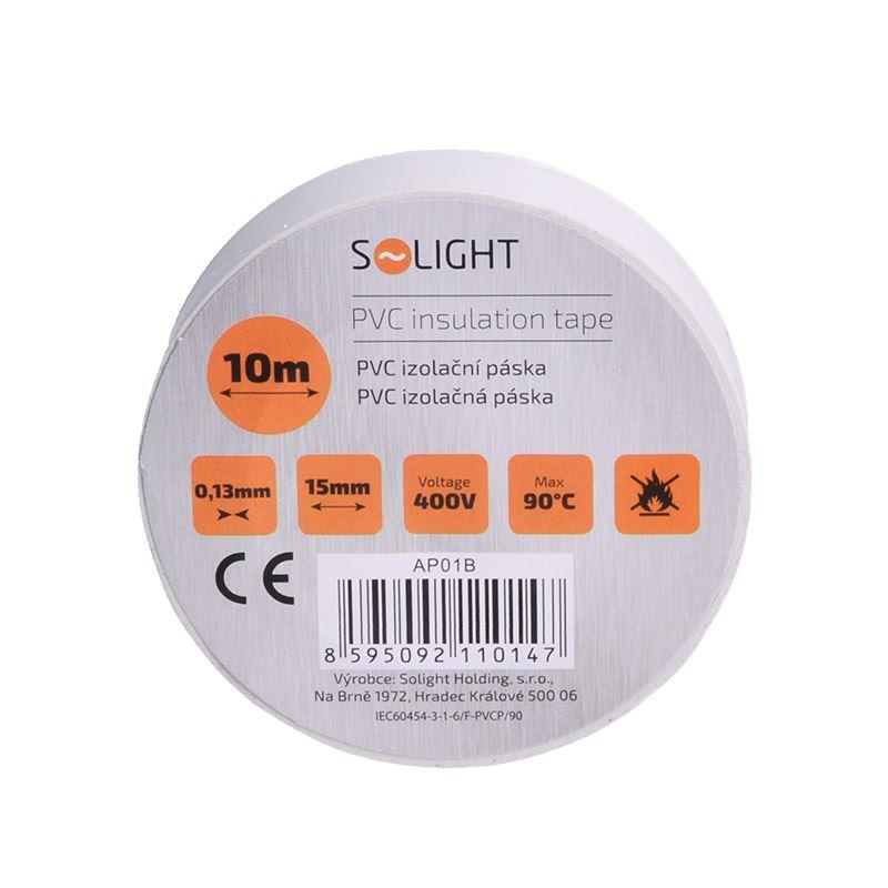 Solight izolačná páska, 15mm x 0,13mm x 10m, biela