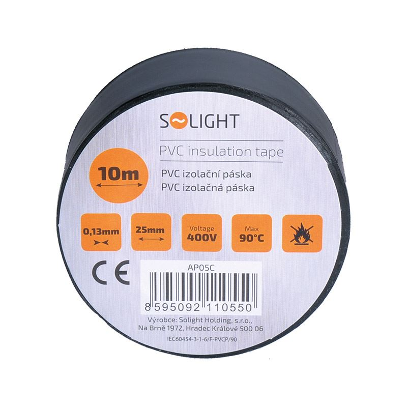 Solight izolačná páska, 25mm x 0,13mm x 10m, čierna