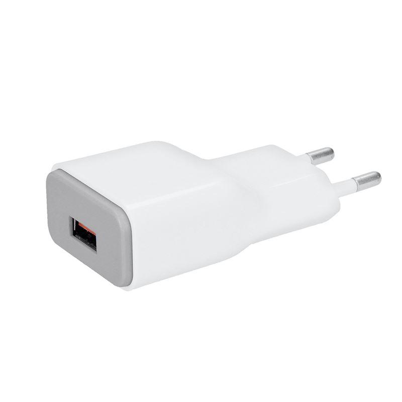 Solight USB nabíjací adaptér, fast charge: 1x USB Qualcomm, 5V2A/9V1.5A/12V1A, AC 230V, bielosivý