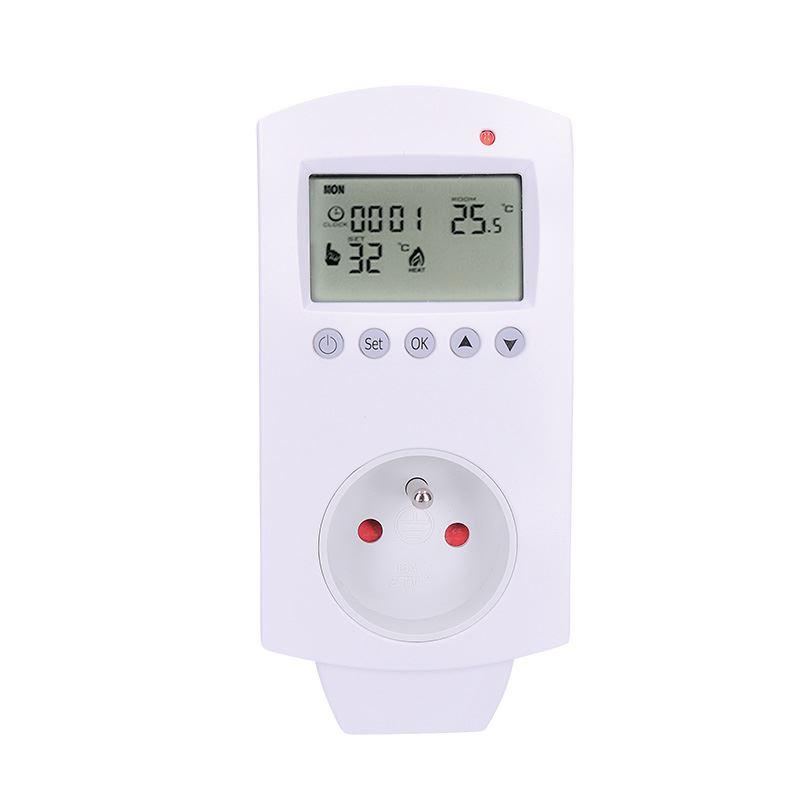 Solight termostaticky spínaná zásuvka, zásuvkový termostat, 230V/16A, režim vykurovania alebo chladenia, rôzne teplotné režimy