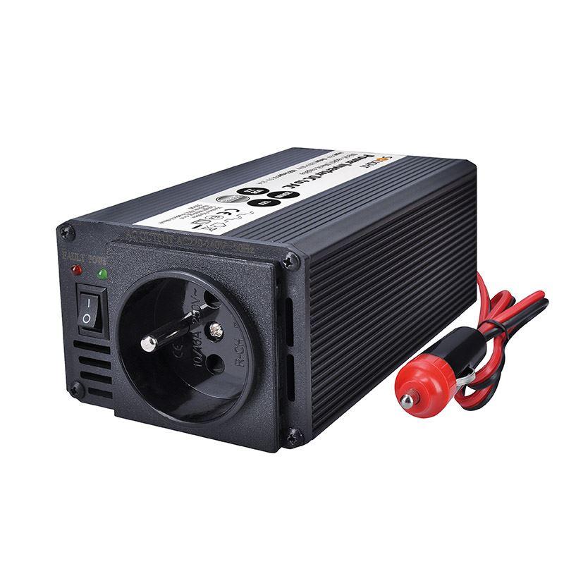 Solight invertor 12V, USB 500mA, kovový, čierny, max. zaťaženie: 200W