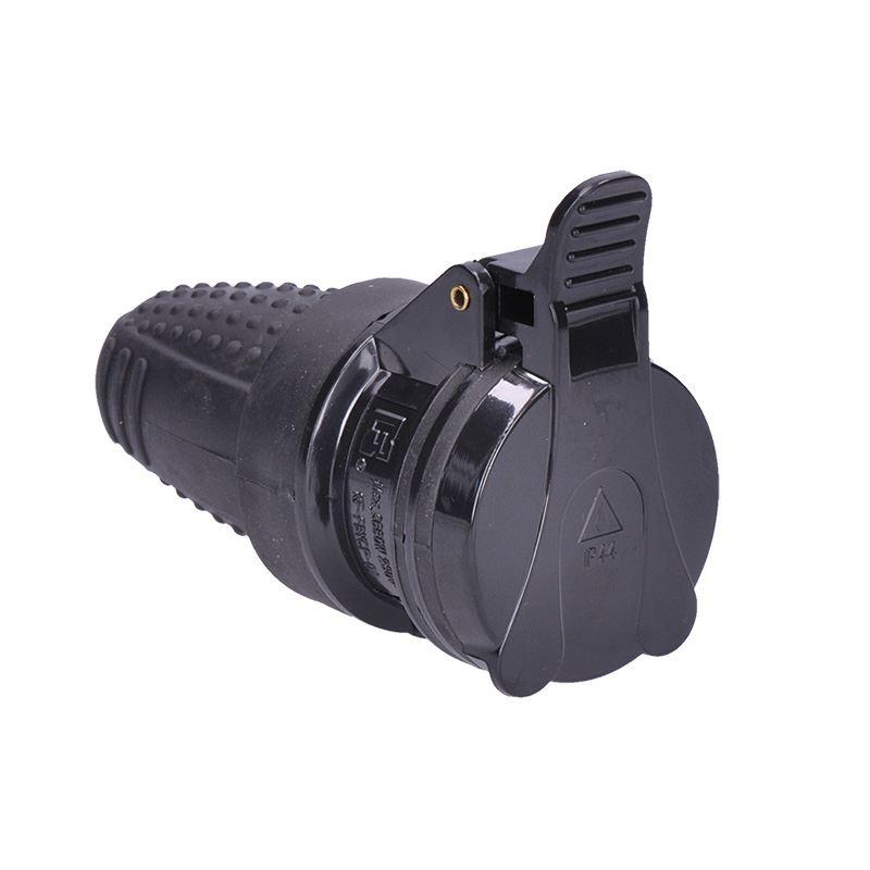 Solight zásuvka gumová do vlhka, priama, IP44, čierna