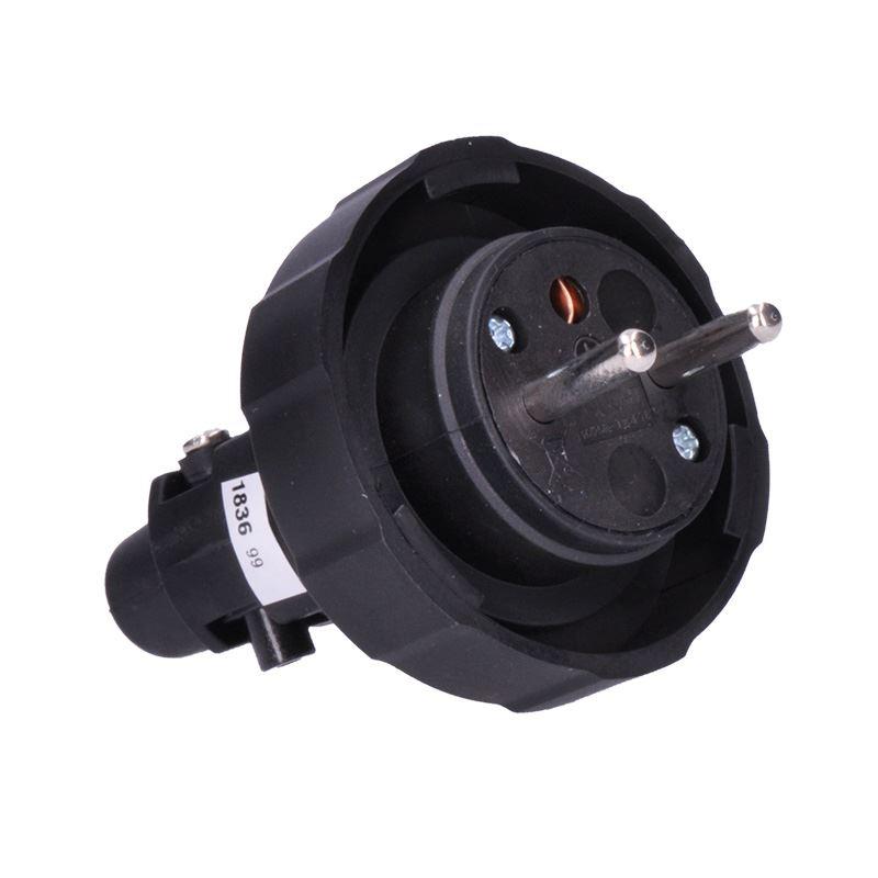 Solight zástrčka gumová do vlhka a prachu, priama, IP65, čierna