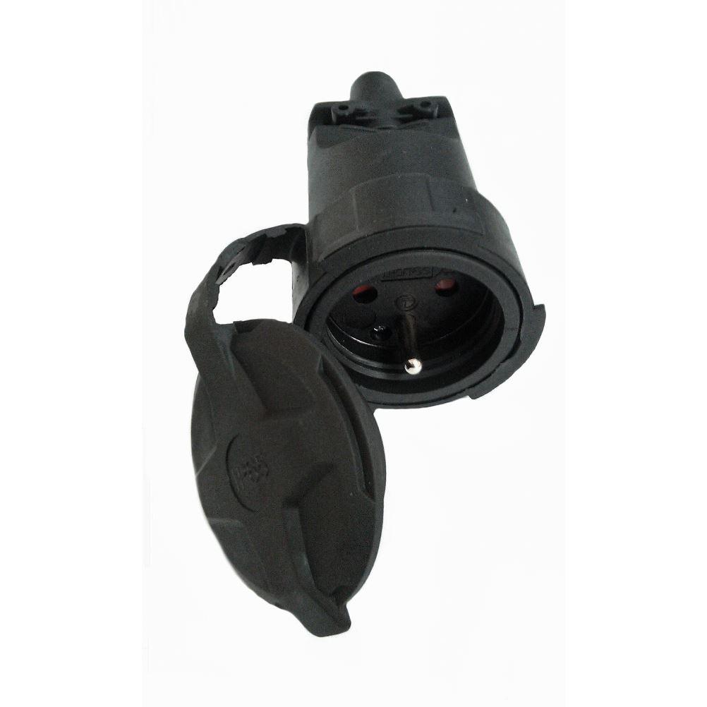Solight zásuvka gumová do vlhka a prachu, priama, IP65, čierna