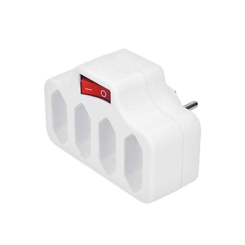 Solight rozbočovač, 4 x 2,5A, biely, vypínač