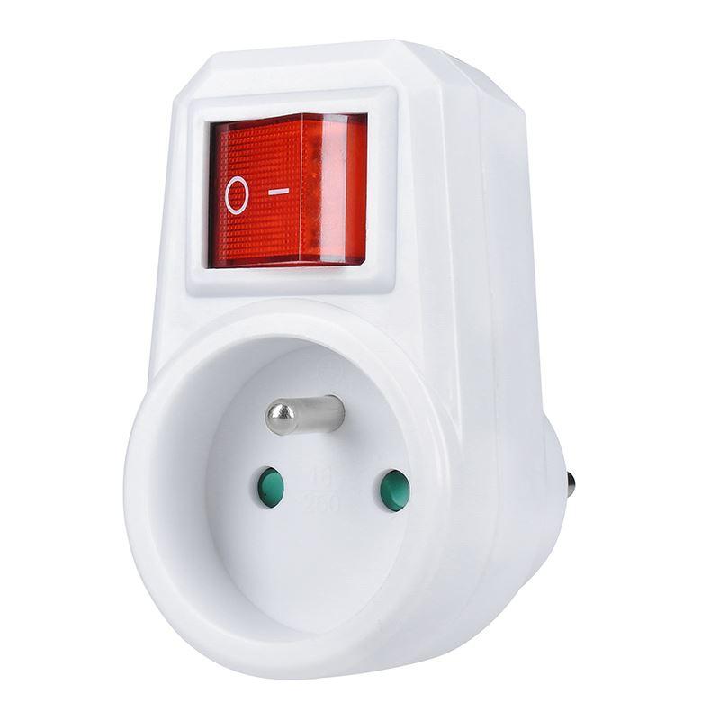 Solight zásuvka, 10A, biela, vypínač