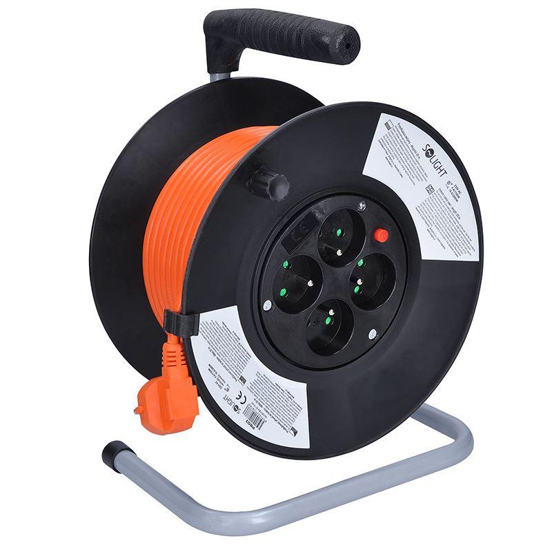 Solight predlžovací prívod na bubne, 4 zásuvky, oranžový, 25m