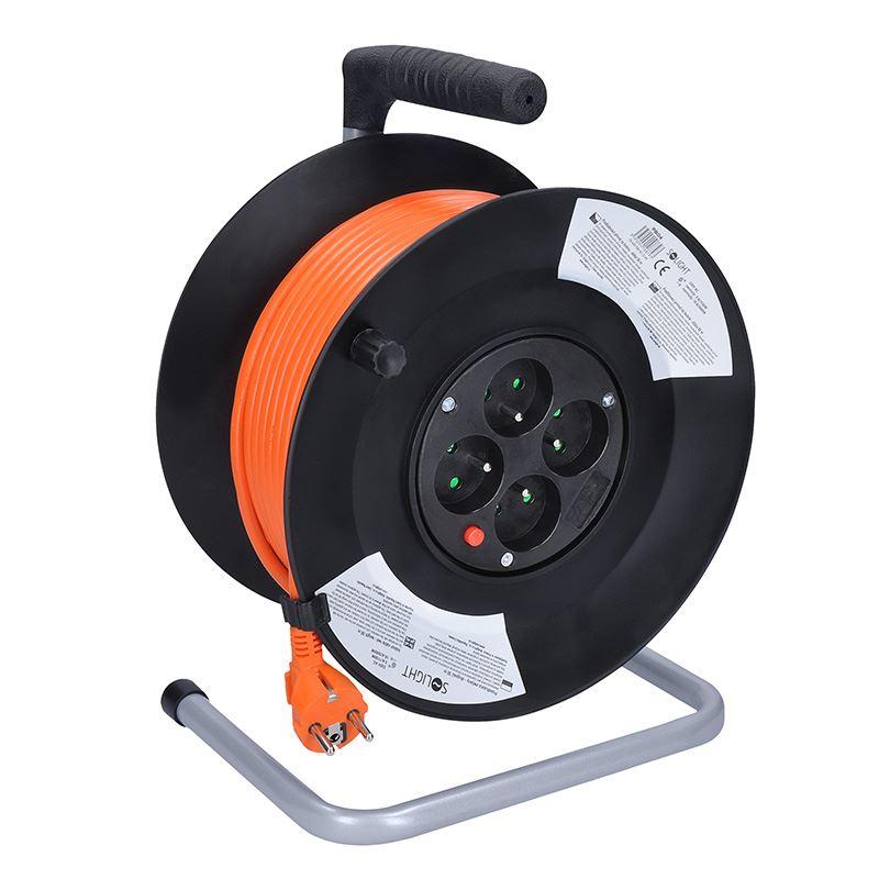 Solight predlžovací prívod na bubne, 4 zásuvky, 50m, oranžový kábel, 3x 1,5mm2
