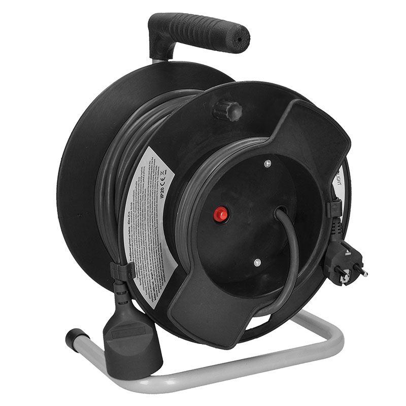 Solight predlžovací prívod na bubne, 1 zásuvka, 25m, čierny kábel, 3x 1,5mm2