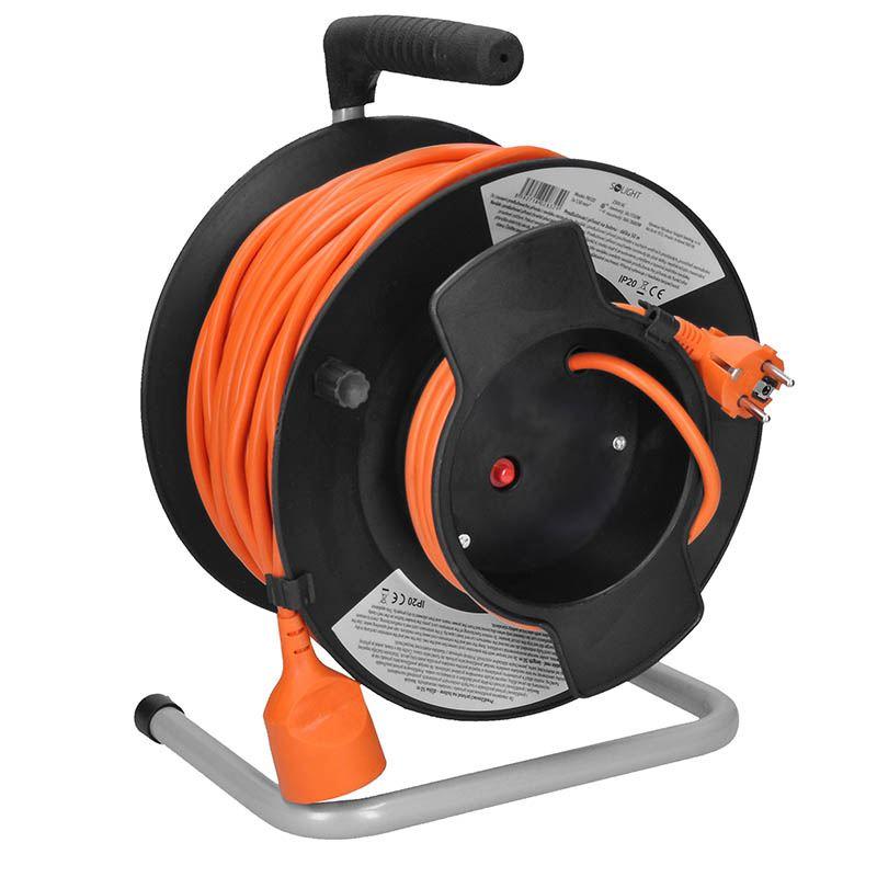 Solight predlžovací prívod na bubne, 1 zásuvka, 50m, oranžový kábel, 3x 1,5mm2