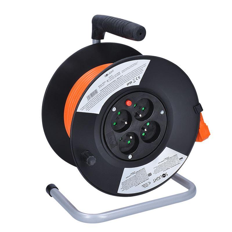 Solight predlžovací prívod na bubne, 4 zásuvky, 25m, 3x 1,0mm2, oranžový kábel