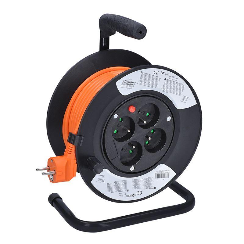 Solight predlžovací prívod na bubne, 4 zásuvky, 15m, oranžový kábel, 3x 1,0mm2