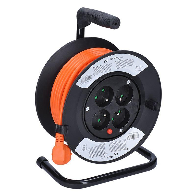 Solight predlžovací prívod na bubne, 4 zásuvky, oranžový kábel, 15m