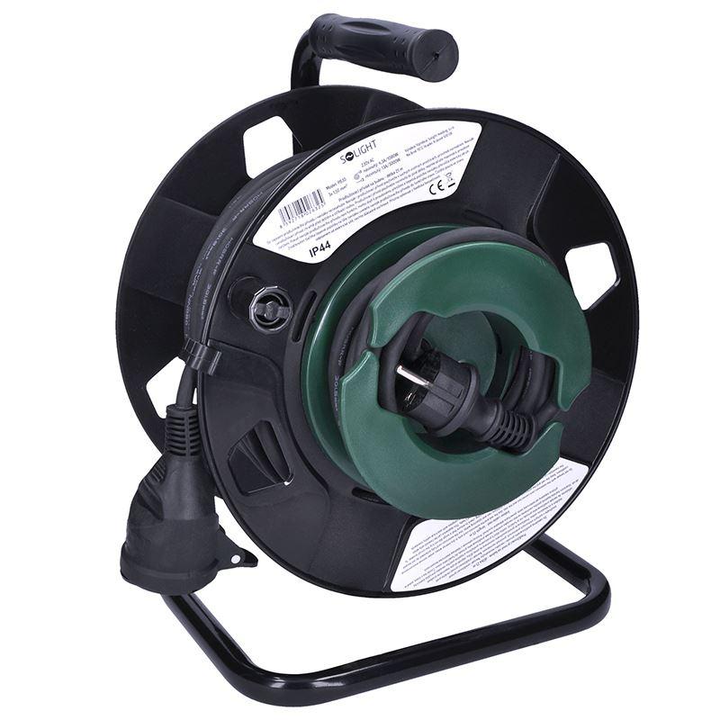 Solight predlžovací prívod na bubne, 1 zásuvka, vonkajší, 25m gumový kábel, 3x 1,5mm2, IP44