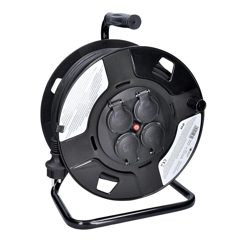 Solight predlžovací prívod na bubne, 4 zásuvky, vonkajší, 50m gumový kábel, 3x 1,5mm2, IP44