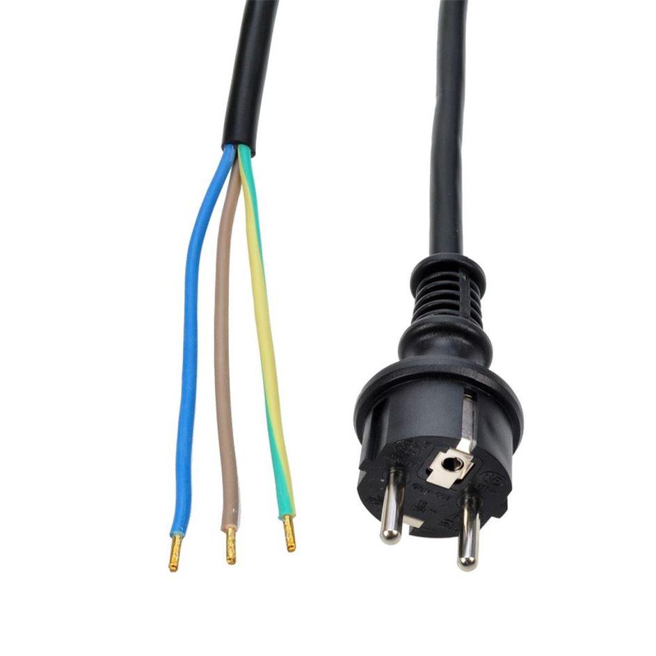 Solight flexo šnúra, 3x 1,5mm2, gumová, čierna, 5m