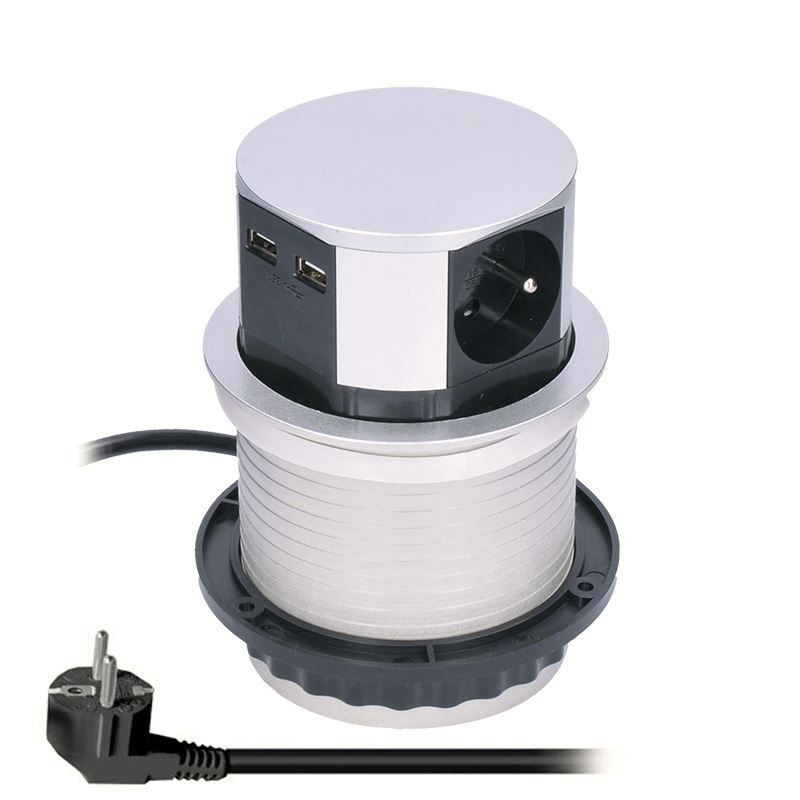 Solight výsuvný blok zásuviek, 3 zásuvky, 2x USB, kruhový tvar nízky, predlžovací prívod 1,5m, 3 x 1mm2, strieborný