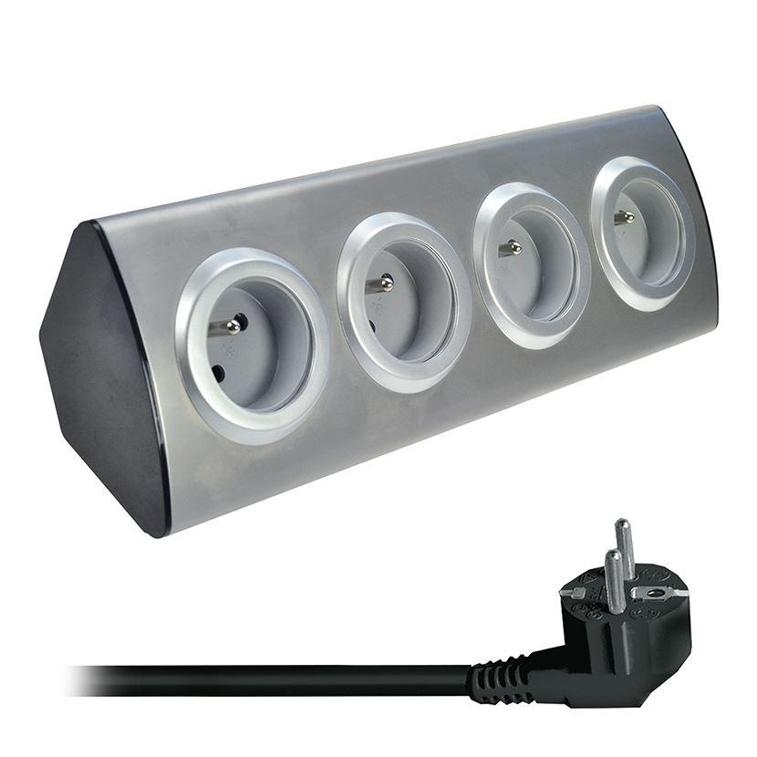 Solight predlžovací prívod, 4 zásuvky, strieborný, 1,5m, rohový dizajn