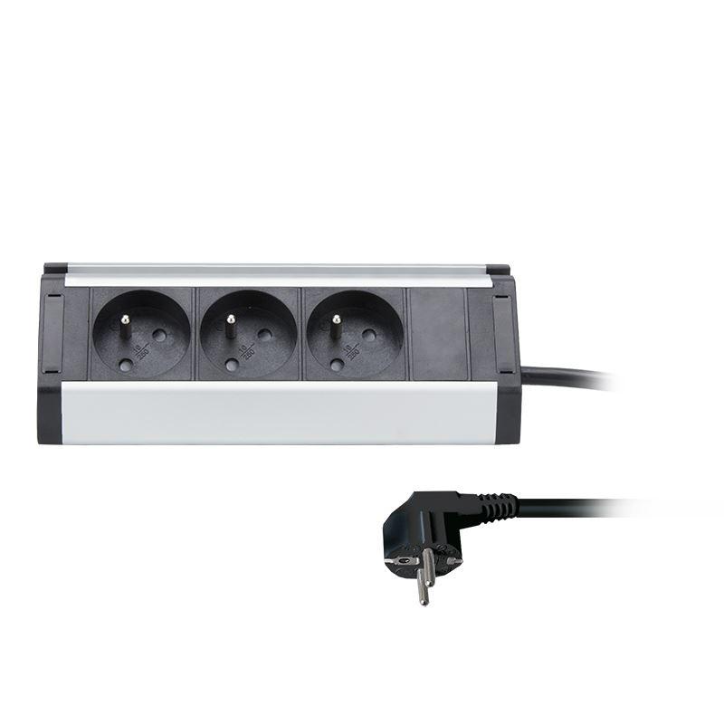 Solight predlžovací prívod, 3 zásuvky, 1,5m, 3 x 1mm2, hliník, rohový dizajn