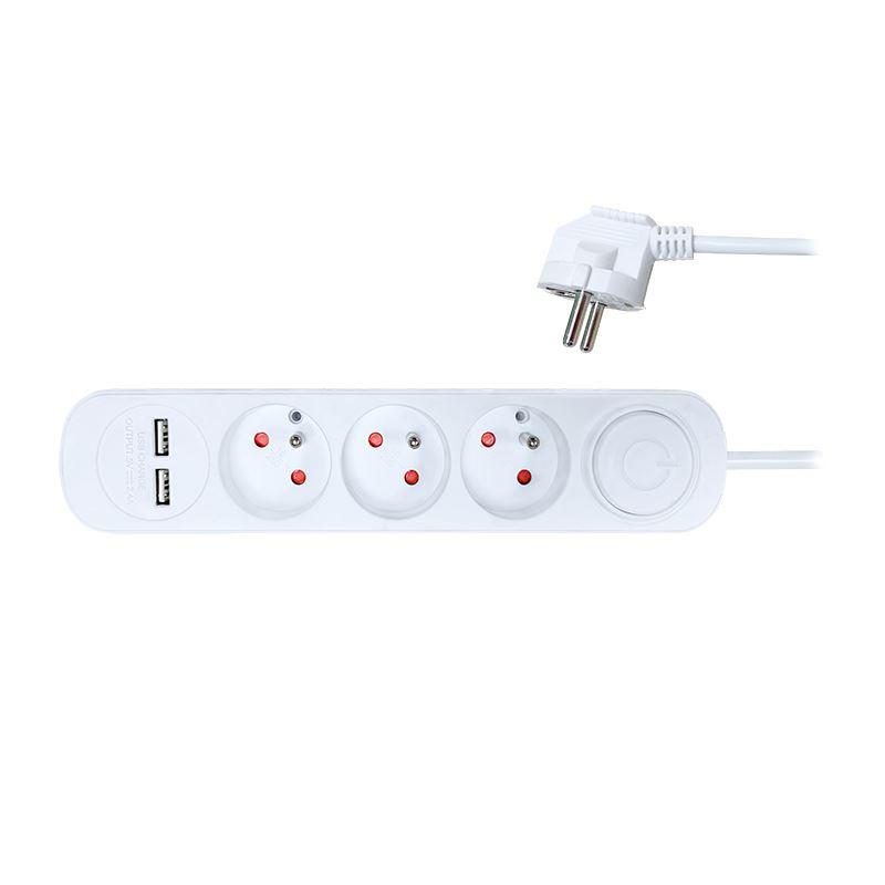 Solight predlžovací prívod, 3 zásuvky, USB 2.4A, biely, 3 x 1mm2, vypínač, 2m