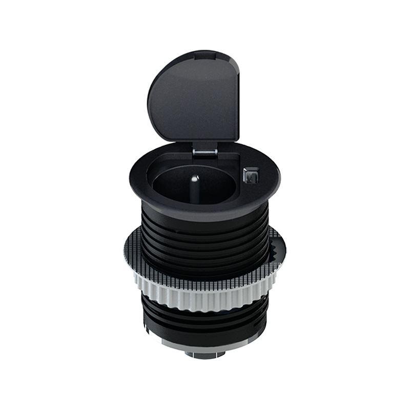 Solight USB vstavaná zásuvka s viečkom, 1 zásuvka, plast, kruhový tvar, predlžovací prívod 1,5m, 3x 1mm2, USB 2100mA, matná čierna