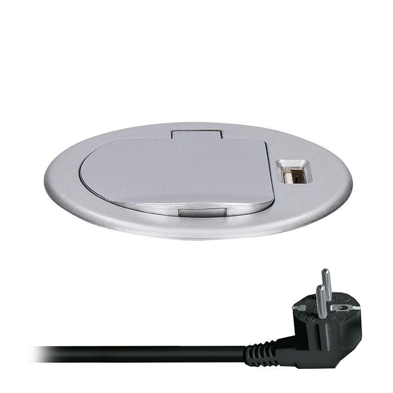 Solight USB vstavaná zásuvka s viečkom, 1 zásuvka, plast, kruhový tvar, predlžovací prívod 1,5m, 3x 1mm2, USB 2100mA, strieborná