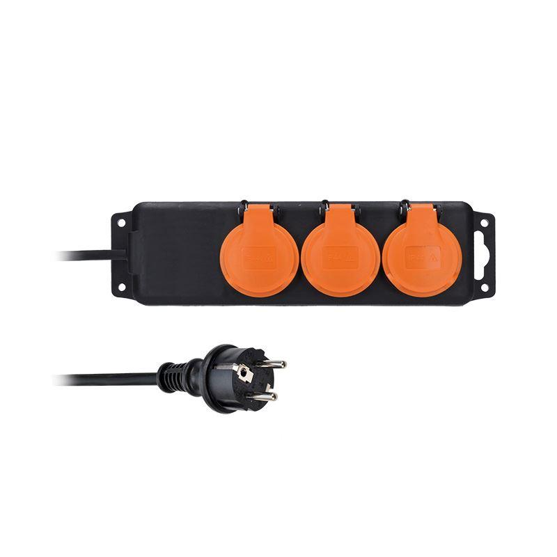 Solight predlžovací prívod IP44, 3 zásuvky, gumový kábel, vonkajší, 3m