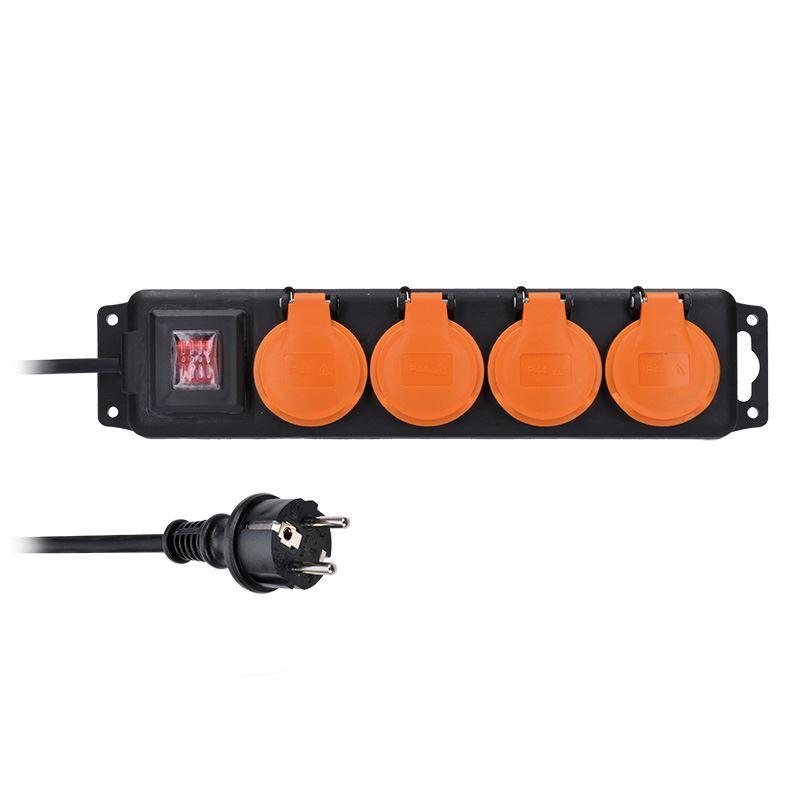 Solight predlžovací prívod IP44, 4 zásuvky, gumový kábel, vypínač, vonkajší, 10m