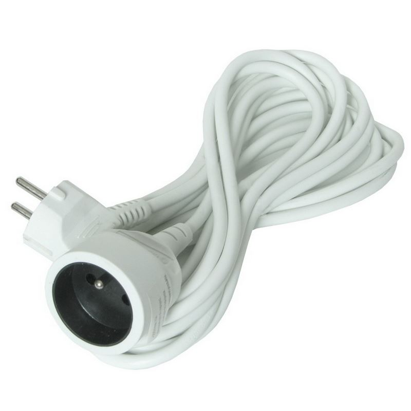 Solight predlžovací kábel - spojka, 1 zásuvka, biela, 10m