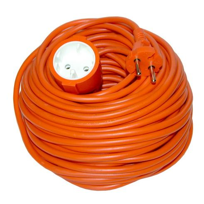 Solight predlžovací kábel - spojka, 1 zásuvka, oranžová, plochá, 20m