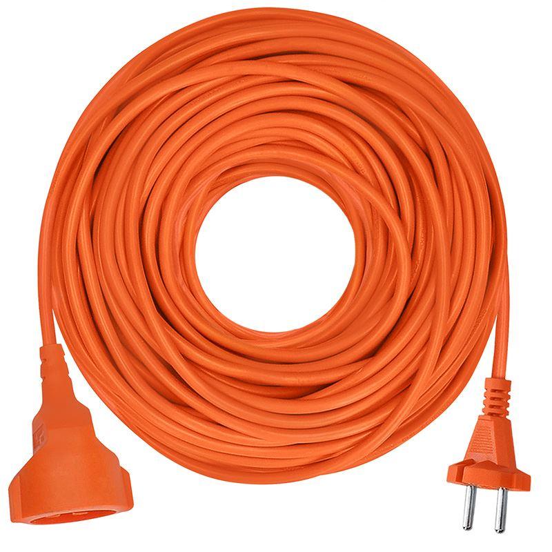 Solight predlžovací kábel - spojka, 1 zásuvka, oranžová, plochá, 30m