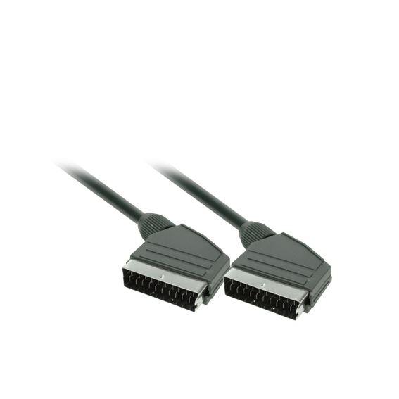 Solight SCART kábel, SCART konektor - SCART konektor, 21pin, 1,5m, priemer 8mm, sáčok