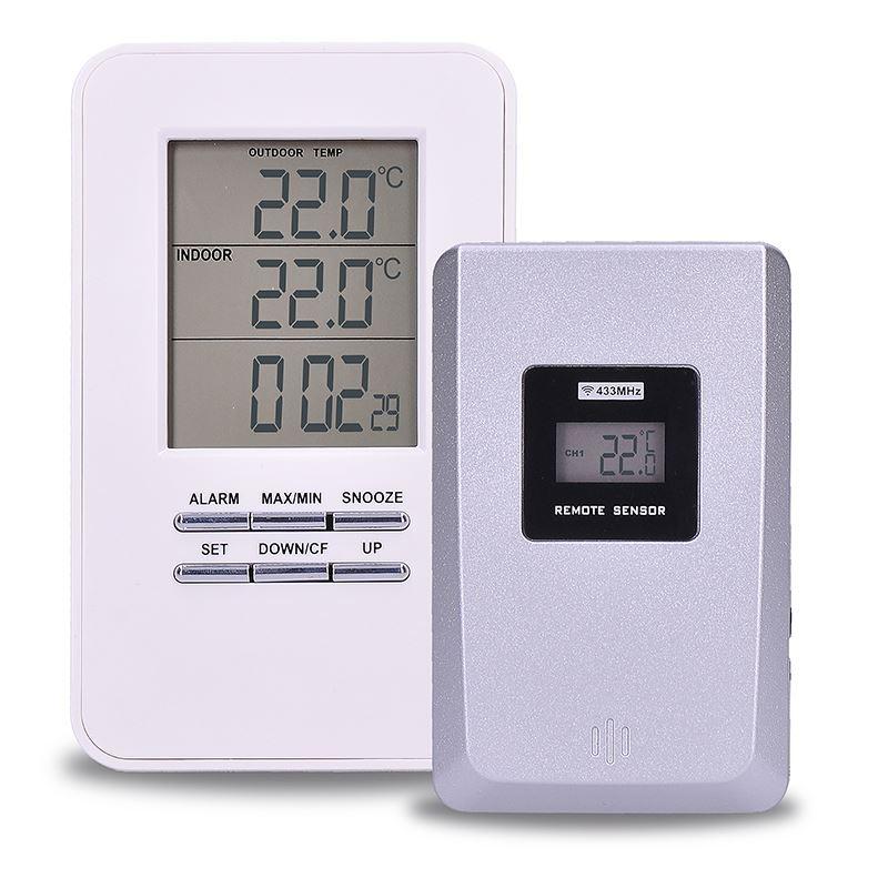 Solight bezdrôtový teplomer, teplota, čas, budík, biely
