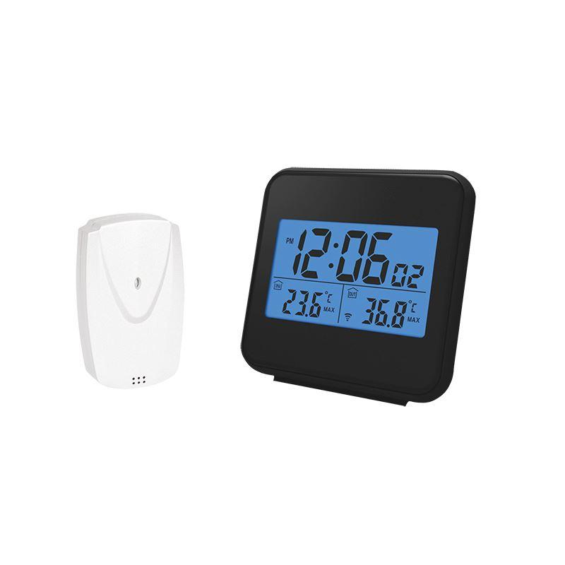Solight bezdrôtový teplomer, vnútorná/vonkajšia teplota, čas, budík, čierny