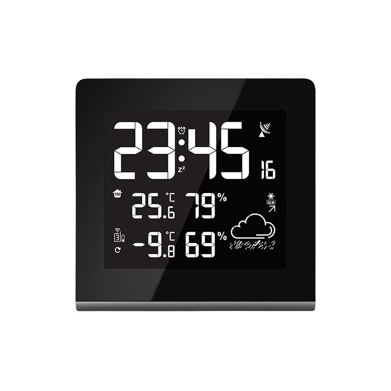 Solight meteostanice, veľký LCD s voliteľnou farbou podsvietenia, vnútorná/vonkajšia teplota, vlhkosť, RCC, čierna