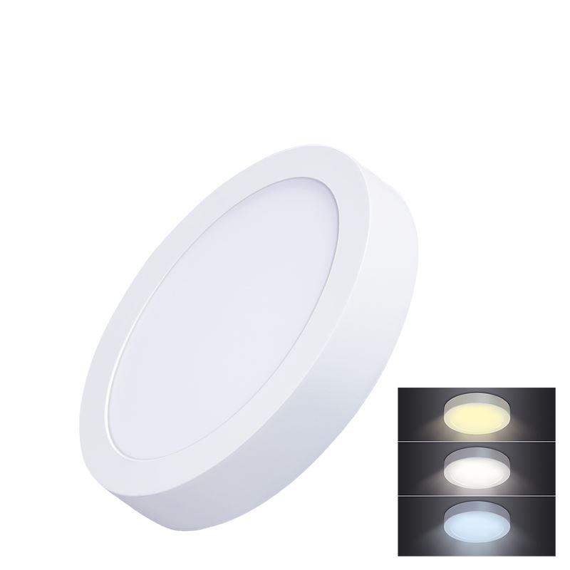 Solight LED mini panel CCT, prisazený, 12W, 900lm, 3000K, 4000K, 6000K, okrúhly