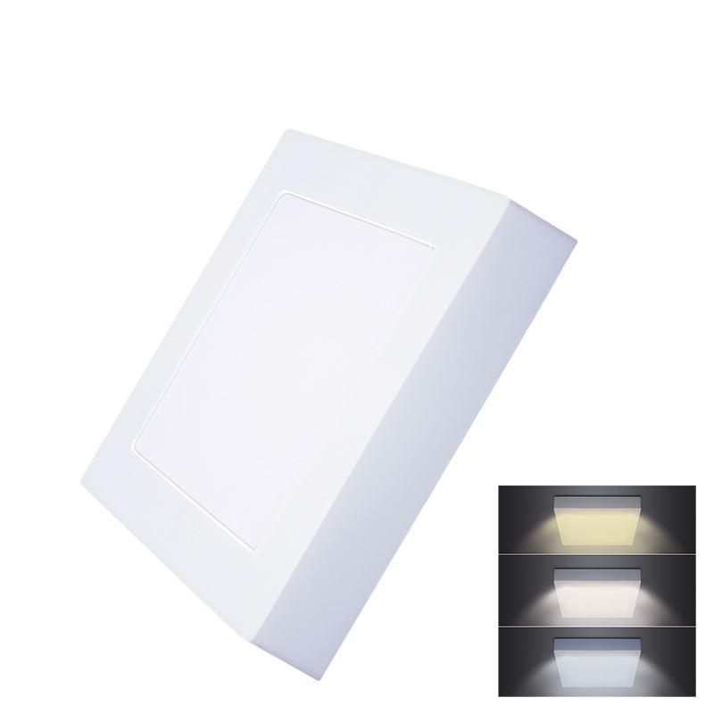 Solight LED mini panel CCT, prisazený, 12W, 900lm, 3000K, 4000K, 6000K, štvorcový