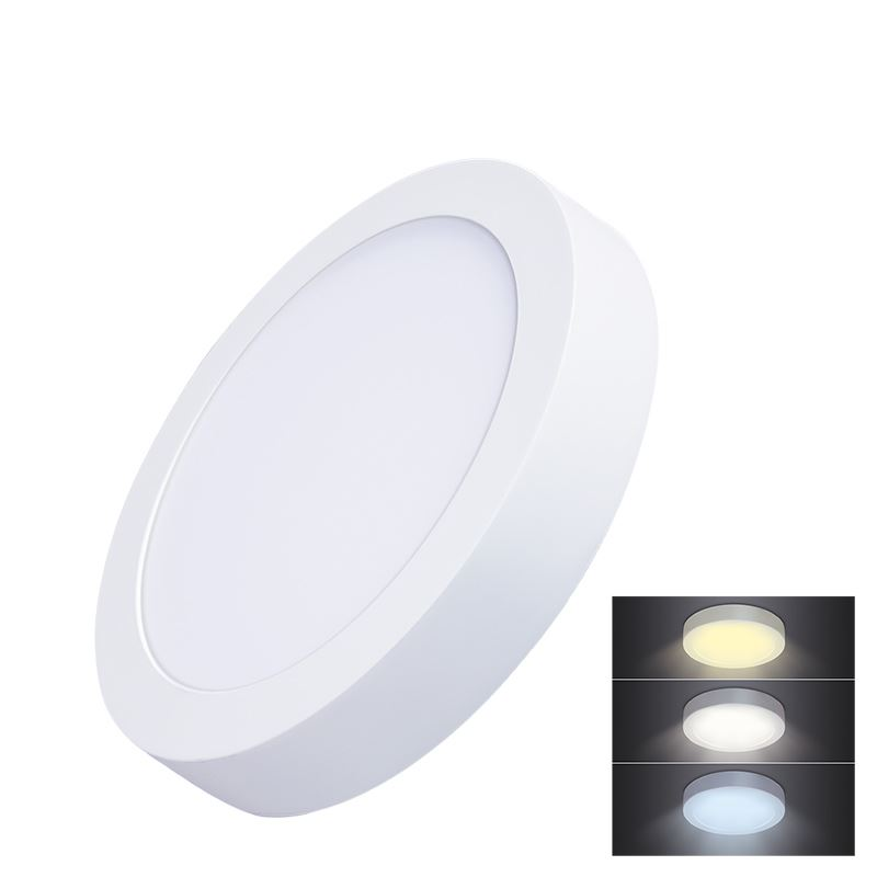 Solight LED mini panel CCT, prisazený, 18W, 1530lm, 3000K, 4000K, 6000K, okrúhly