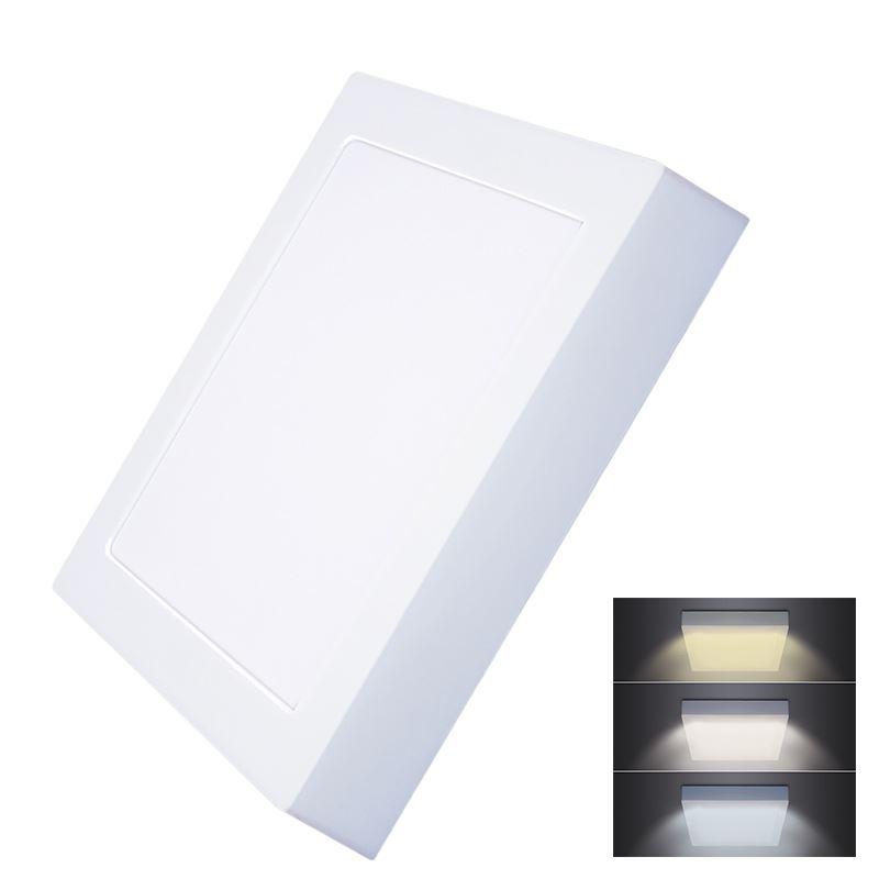 Solight LED mini panel CCT, prisazený, 18W, 1530lm, 3000K, 4000K, 6000K, štvorcový