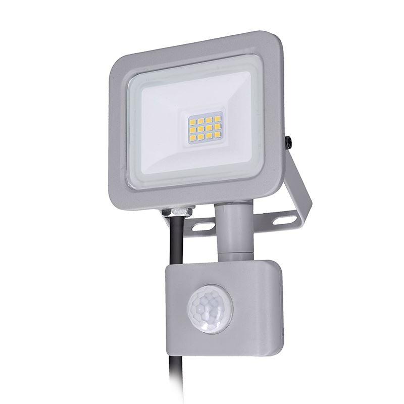 Solight LED reflektor Home so senzorom, 10W, 750lm, 4000K, IP44, sivý