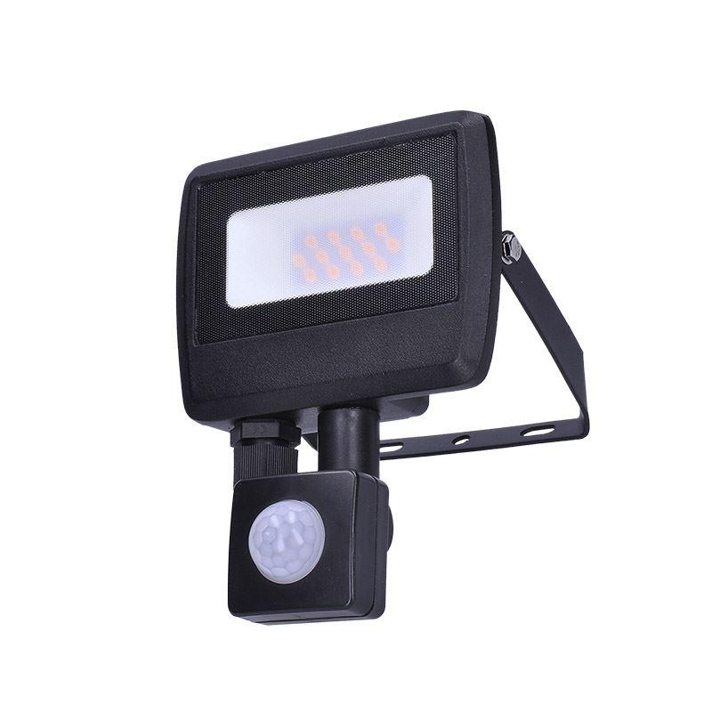 Solight LED reflektor Easy so senzorom, 10W, 800lm, 4000K, IP44, čierny