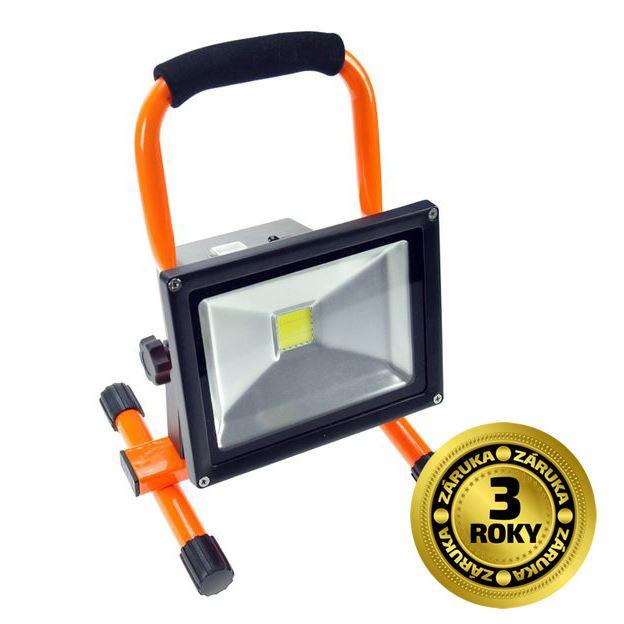 Solight LED reflektor, 20W, prenosný, nabijací, 1600lm, oranžovo-čierny