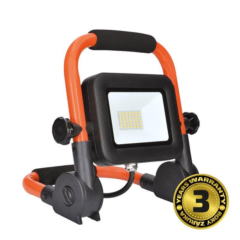 Solight LED reflektor PRO so sklopným stojanom, 30W, 2550lm, 5000K, kábel so zástrčkou, IP65