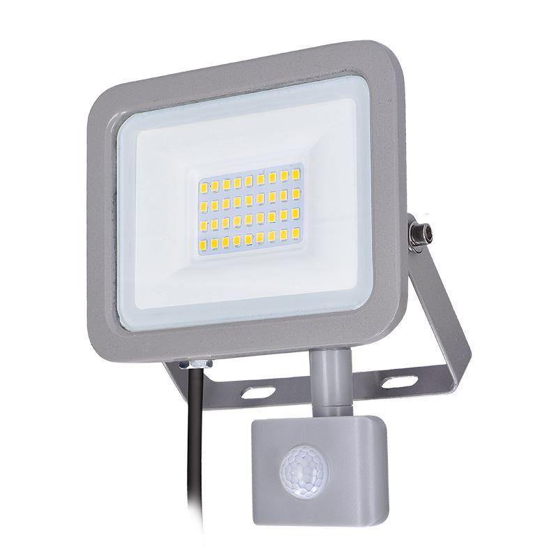 Solight LED reflektor Home so senzorom, 30W, 2250lm, 4000K, IP44, sivý